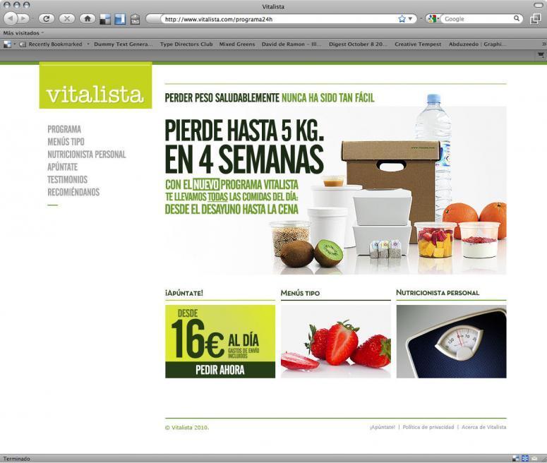 diseño web de la empresa vitalista