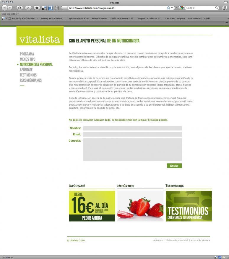 diseño web de vitalistas landing page
