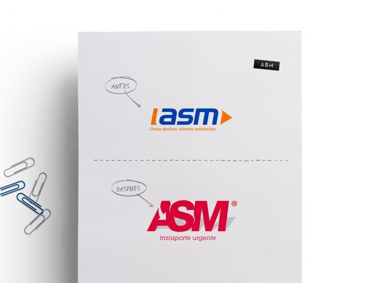 rebranding de ASM transporte urgente obra de código visual