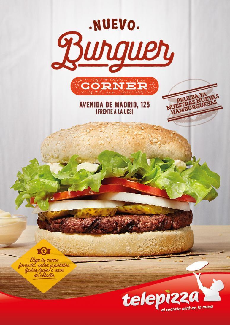 cartelería de las nuevas hamburguesas de telepizza