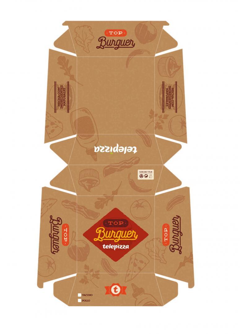 packaging de telepizza para hamburguesas