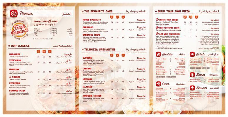 Carta menú telepizza para emiratos árabes