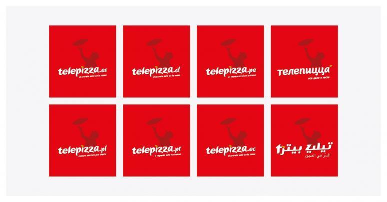 piezas de rebranding de telepizza diferentes paises