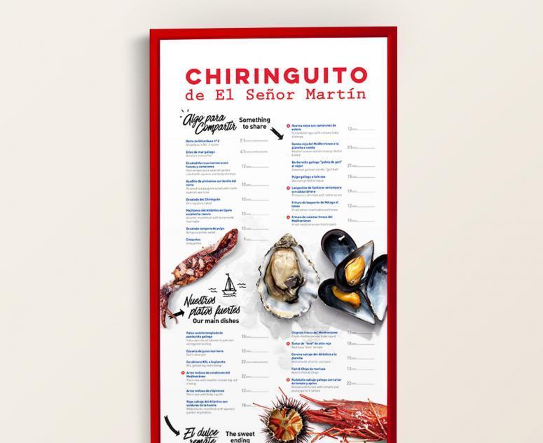 carta del menú del restaurante el chiringuito del señor Martín
